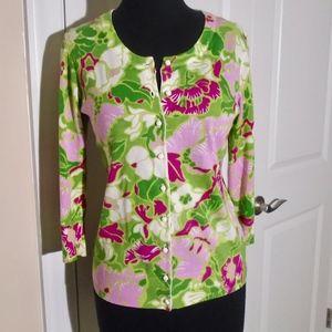 TALBOTS 3/4 Sleeve Floral Cardigan Sweater S-P